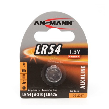 Pile plate LR54 1,5V ANSMANN Equivalente à AG10 et LR626