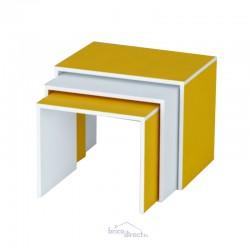 Tables gigognes TANIA Couleur JAUNE/BLANC