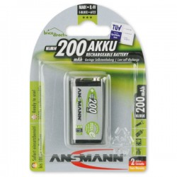 Piles rechargeable 9V 200mAh MaxE ANSMANN