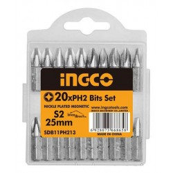 Kit 20 embouts de vissage PH2 25mm INGCO