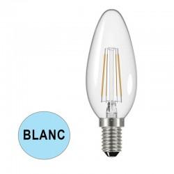 Ampoule LED flamme claire à filaments E14 4W BLANC