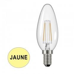 Ampoule LED flamme claire à filaments E14 4W JAUNE