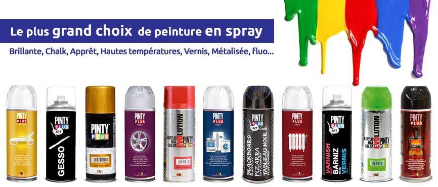 peinture en spray Brillante, Chalk, Apprêt, Hautes températures, Vernis, Métalisée, Electroménager, fluo...