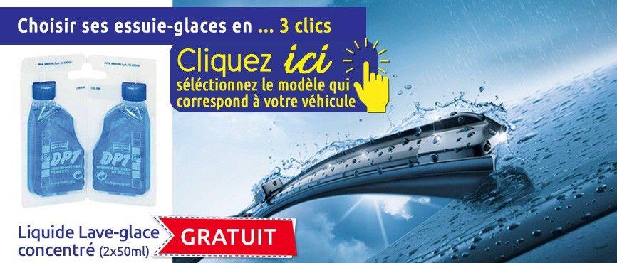 Des balais d'essuie-glaces disponibles selon le modèle du véhicule avec lave-glace concentré gratuit (2*50ml)