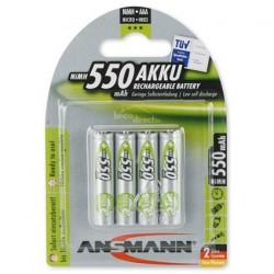 Pack 4 piles rechargeables AAA 550mAh MaxE ANSMANN