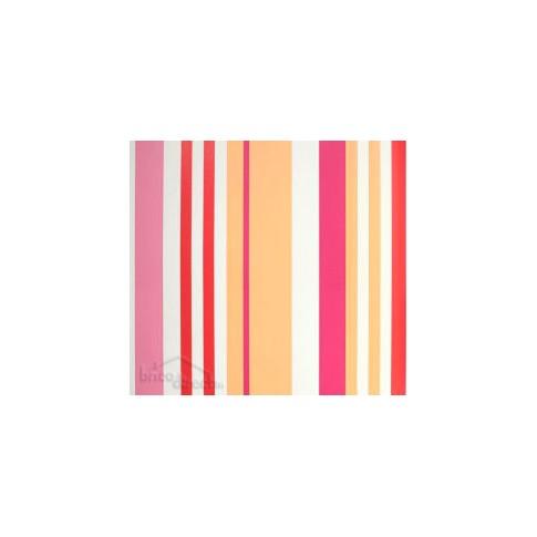 Papier peint Miss Zoé rayure corail/Orange 58033230 CASELIO