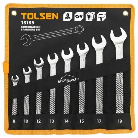 Jeu de 8 clés mixtes 8-19mm en Cr-V TOLSEN