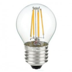 Ampoule LED ronde claire à filaments E27 4W JAUNE