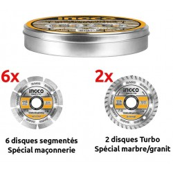 Pack de 8 disques Diamant 115mm INGCO