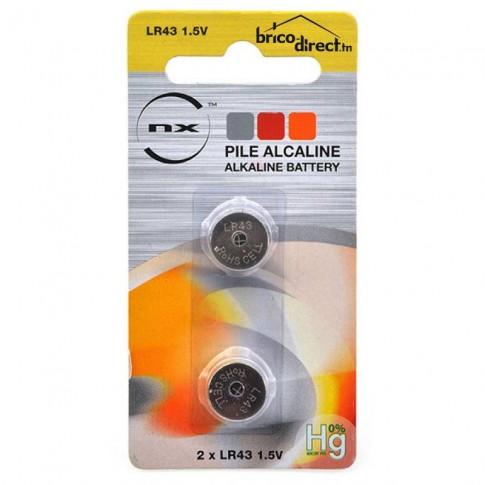 Pack de 2 piles plate LR43 NX