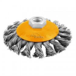 Brosse métallique torsadée conique 100mm pour meule à disques TOLSEN