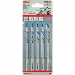 Pack de 5 lames de scie sauteuse fléxibles spécial Métal T318AF BOSCH