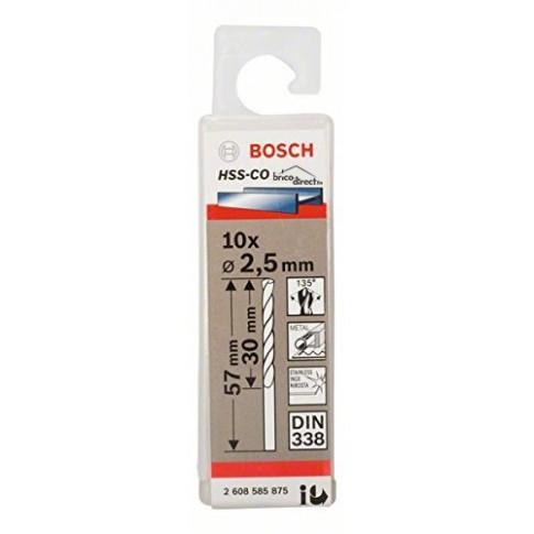 Jeu de 10 mèches INOX HSS-CO 2.5mm BOSCH