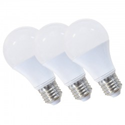 Lot de 3 ampoules LED BLANCHES E27 spherique 9W