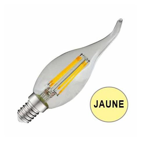 Ampoule coupe-vent LED 4W JAUNE E14