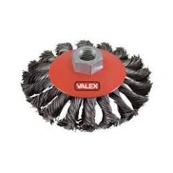 Brosse métallique torsadée conique 100mm pour meule à disques VALEX