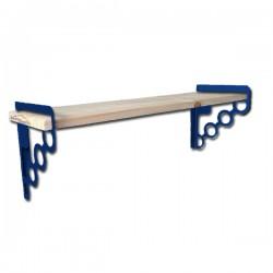 Étagère Murale Tablette Bois 60cmx16cm EMA 160W Avec 2 supports En Acier bleus