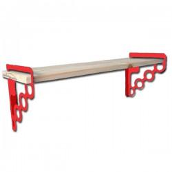 Étagère Murale Tablette Bois 80cmx16cm EMA 160W Avec 2 supports En Acier rouges