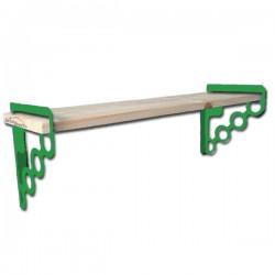 Étagère Murale Tablette Bois 80cmx16cm EMA 160W Avec 2 supports En Acier Verts