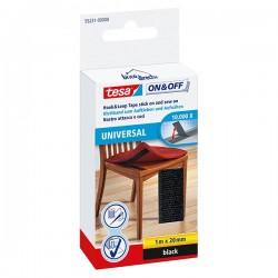 Scratch Velcro à coudre et à coller Universal Noir 1Mx20mm TESA