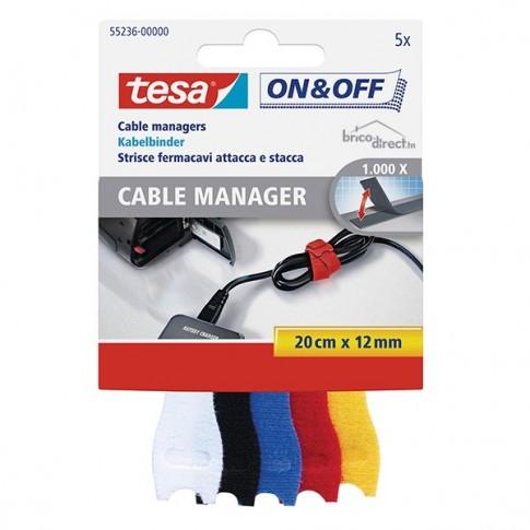 Collier de serrage auto-agrippant (5 pièces) 0,2M x 12mm - 5 couleurs TESA