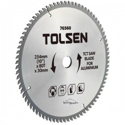 Disque Aluminium 254mm 80T pour scies à onglet et circulaires TOLSEN
