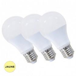 Lot de 3 ampoules LED JAUNES E27 spheriques 9W BRILLIANT