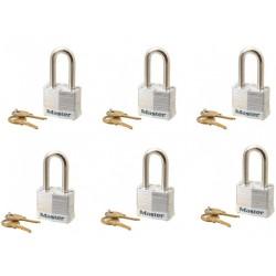 Jeu de 6 Cadenas même clé Master Lock 3KALFWHT