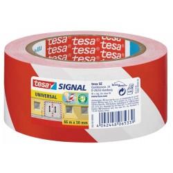 Adhésif de signalisation Rouge/Blanc 66Mx50mm TESA