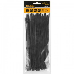 Pack 100 Attaches en plastique noir 200mm TOLSEN