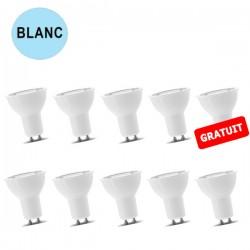 Lot de 10 ampoules spot LED 7W BLANC FROID GU10 LUXRAM