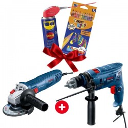 PACK Meuleuse 115mm 710W BOSCH + Perceuse à percussion 570W BOSCH