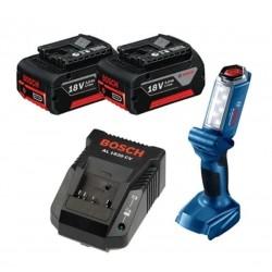 Pack de 2 batteries 3Ah Chargeur et Lampe BOSCH GLI 180-LI
