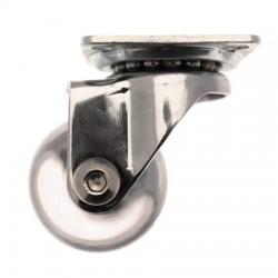 Roulette transparente pivotante en PU à platine