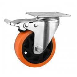 Roue pivotante en PVC Orange Ø100mm avec frein et à platine