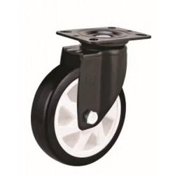 Roue pivotante en PVC noir Ø100mm à platine