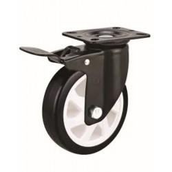 Roue pivotante en PVC noir Ø100mm avec frein et à platine