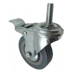 Roue pivotante en PVC Ø100mm à frein et à tige filetée