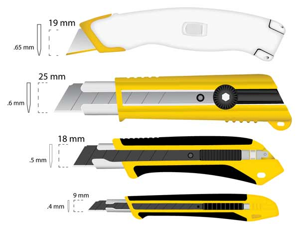 Différents formats de lames de cutteurs
